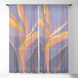 Bright Tropical Flower Sheer Curtain