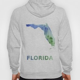 Florida map outline Blue-green watercolor painting Hoody