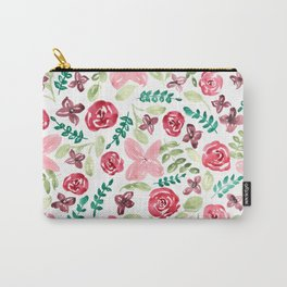 Colorful Watercolor // Hand Painted // Watercolor Flower and Leaves Carry-All Pouch