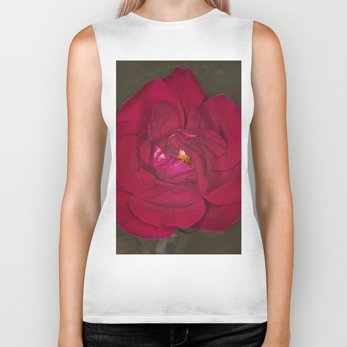 Red Rose in bloom Biker Tank