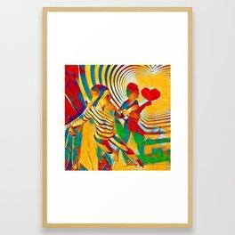 7586s-MM Red Shadow Heart Catch Cherish Set Free Abstract Romantic Love Framed Art Print