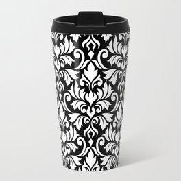Flourish Damask Big Ptn White on Black Travel Mug