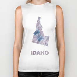Idaho map outline Dark gray stained watercolor pattern Biker Tank