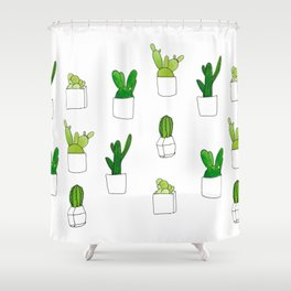 Friendly family of succulents Shower Curtain