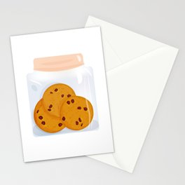 Chocolate chip cookie, homemade biscuit in glass jar Stationery Cards