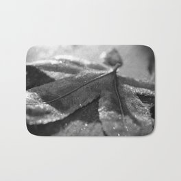 Frost Covered Leaf Black & White Botanical / Nature Photograph Bath Mat