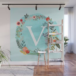 Personalized Monogram Initial Letter V Blue Watercolor Flower Wreath Artwork Wall Mural