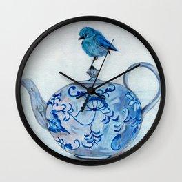 Blue Bird on Teapot Wall Clock