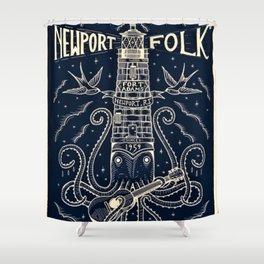 1959 Vintage Newport Folk Festival - Fort Adams, Newport, Rhode Island - Advertising Poster Shower Curtain