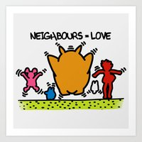 keith haring Art Prints featuring Keith Haring & The neighbours by le.duc