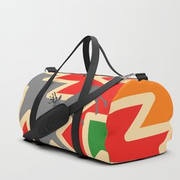 Retro deer and Christmas trees Duffle Bag