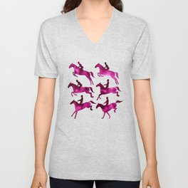Watercolor Showjumping Horses (Magenta) Unisex V-Neck