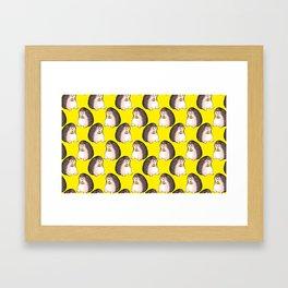 Hedgehog eating pizza Framed Art Print