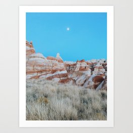 Moon Over Marbled Rock Formation Art Print