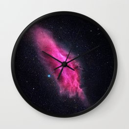 Pink cloud in space Wall Clock