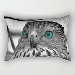 Black and White Hawk with Aqua Blue Eye A165 Rectangular Pillow
