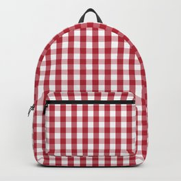 USA Flag Red Blood Large Gingham Check Backpack