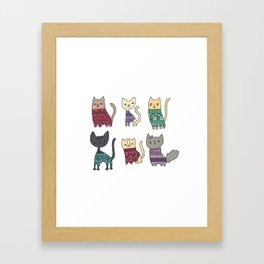 sweater cats Framed Art Print