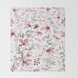 Rustic Floral - Watercolor Flowers Burgundy Pink Throw Blanket