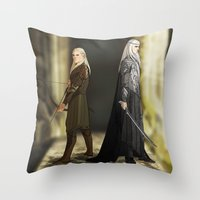 legolas Throw Pillows featuring Legolas & Thranduil by rdjpwns
