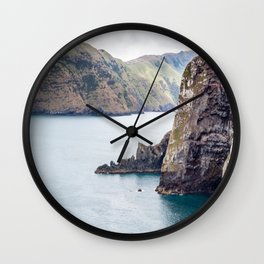 Cliff Face, Akaroa, New Zealand Wall Clock