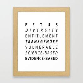Fetus, Diversity, Entitlement, Transgender, Vulnerable, Science-Based, Evidence-Based Framed Art Print