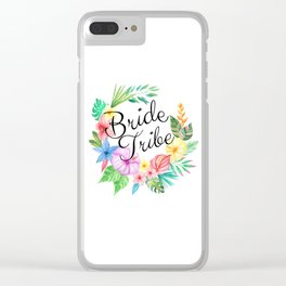 Bride Tribe Boho Floral Clear iPhone Case