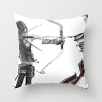 lara croft Throw Pillows featuring Lara Croft: Dimensional Shift  by Sean Thomas McDowell