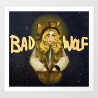 bad wolf Art Prints featuring BAD WOLF by Aviculae