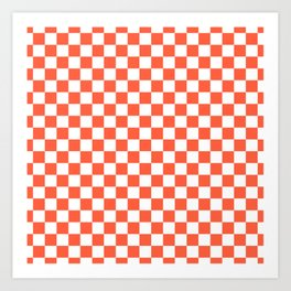 Jumbo Living Coral Color of the Year Orange and White Checkerboard Art Print