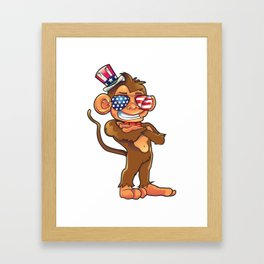 Monkey  USA Sunglasses 4th of July Framed Art Print