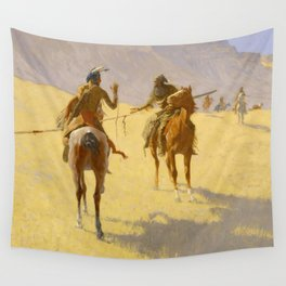 """Frederic Remington Western Art """"The Parley"""" Wall Tapestry"""