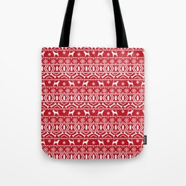 Bloodhound fair isle christmas sweater red and white minimal dog silhouette holiday gifts Tote Bag
