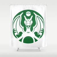 charizard Shower Curtains featuring Charbucks by Jango Snow