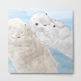 Otters hold hands Metal Print