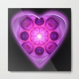Glow Love Heart Metal Print