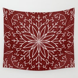 Single Snowflake - dark red Wall Tapestry