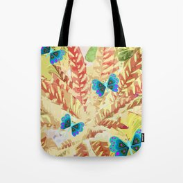 butterfly and fern beige Tote Bag