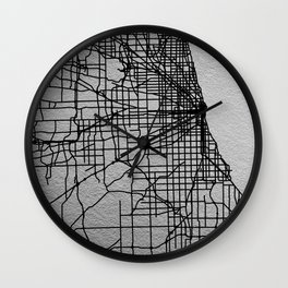 Black and white Chicago map Wall Clock