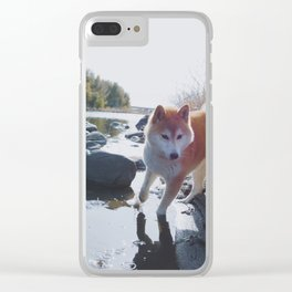 Shiba Inu At The River Clear iPhone Case