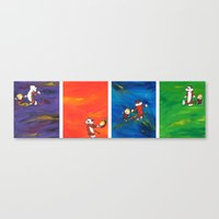 calvin and hobbes Canvas Prints featuring Calvin & Hobbes dancing series by Always Add Color