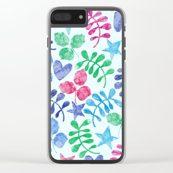 Watercolor Floral Pattern II Clear iPhone Case