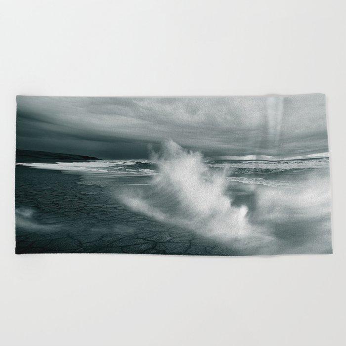 sea waves water Beach Towel