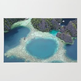 the blue hole in coron Philippines Rug