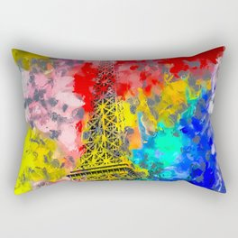 Eiffel Tower at Paris hotel and casino, Las Vegas, USA,with red blue yellow painting abstract backgr Rectangular Pillow