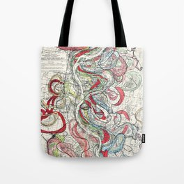 Beautiful Vintage Map of the Mississippi River Tote Bag