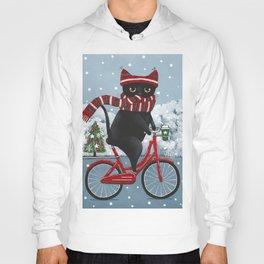 Black Cat Winter Bicycle Ride Hoody