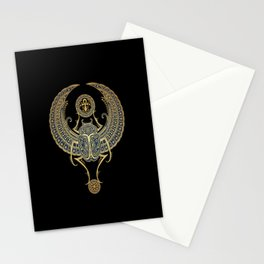 Golden Blue Winged Egyptian Scarab Beetle with Ankh Stationery Cards
