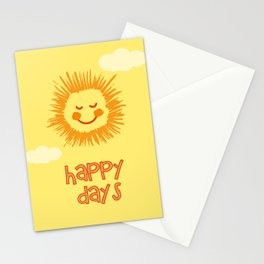 Happy Days Sign, Nursery Wall Art, Nursery Art Print, Kids room print, Sun wall art Stationery Cards
