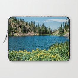 Yellow Flower Lake // Beautiful Daylight Evergreen Mountain Landscape Photograph Laptop Sleeve